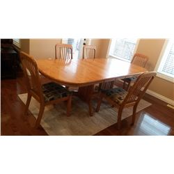 Bakers Table W/ 3 Extra Leaves And 5 Matching Chairs