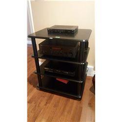 Bell TV HD receiver, Panasonic DVD 5 Disc Changer, Yamaha Sound Receiver, 4 Shelf Stand