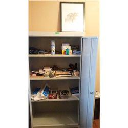 Metal Cabinet, 2 Door With Contents