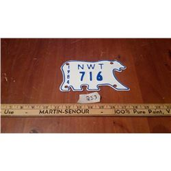 1984 NWT Polar Bear License Plate For Motorcycle Or Snowmobile