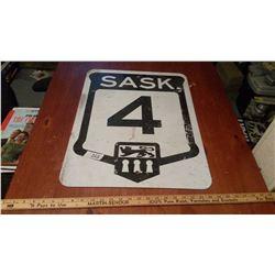Saskatchewan #4 Metal Road Sign