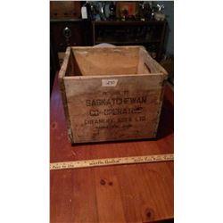 Saskatchewan Co-operative Creamery Wooden Crate, Stamped on 2 Sides, Saskatoon SK