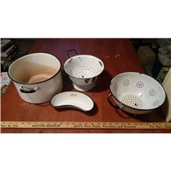Enamel Pot, Strainers, And Tray