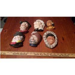 6 Chalkware Heads