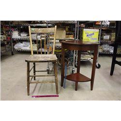 Vintage Wooden Chair& A Modern Corner Stand