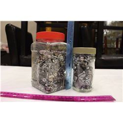 Two Plastic Jars Filled w/Bolts, Nails, Sockets, Etc