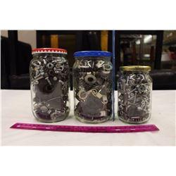 Three Jars Filled w/Bolts, Nails, Sockets, Etc
