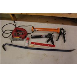 Lot of Assorted Tools (Caulking Guns, Electric Saw, Etc)