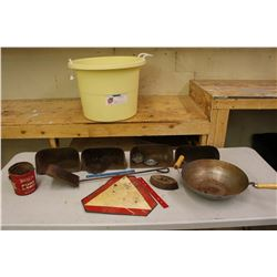 Storage Tub w/Antique Tools, Pure Lard Pail, Etc