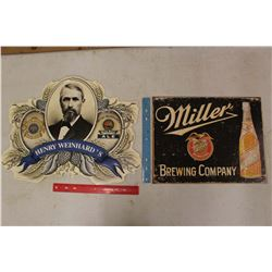 Tin Beer Signs (2)(Miller & Henry Weinhard's)