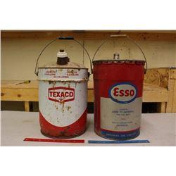 5 Gallon Oil Pails (2)(Esso & Texaco)