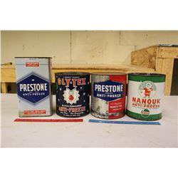 1 Gallon Anti-Freeze Tins (4)(Castrol, Prestone(2)&Gly-Tex)