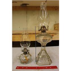 Vintage Glass Coal-Oil Lamps (2)