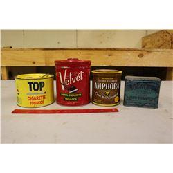 Tobacco Tins (4)(Velvet, Top, Amphora& Edge Worth)