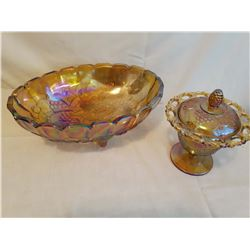 Carnival Glass Fruit Bowl & Covered Candy Dish