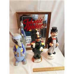 Johnnie Walker Bar Mirror & Liquor Decanters (3)(2 Musical)