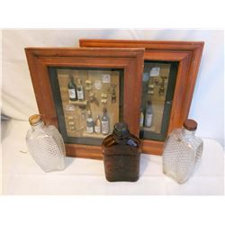 Liquor Shadow Boxes (2) & Ornate Glass Flasks (3)