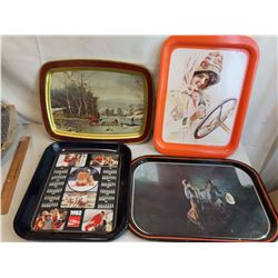 Metal Trays (4)(2 Coke Trays)(2 Decorative)