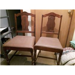 Vintage Wooden Dinning Room Chairs(2)(Vinyl Seat Covering)