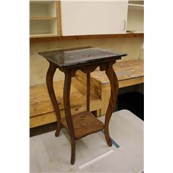 Vintage Wooden Nightstand with Marble Top