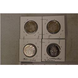 4 Canadian 1/2 Dollars