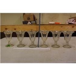 Set Of 6 1950's Milk Shake Glasses