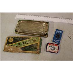 Vintage Rolls Razor w/Phillip's Tablets& Gillette Blue Blades
