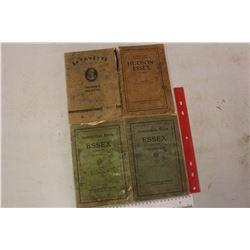 1927&1929 Hudson& Essex Car Instruction Books& 1930s Lafayette Car Owners Manual