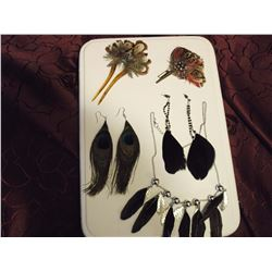 Feather Jewellery (Earrings, Hair Piece, Pin & Necklace)
