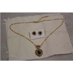 Blue Topaz Gold Plated Set w/Rhinestone Accents