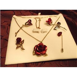 Friendship Rose Jewellery (5 Pc)(Brooches, Pin& Pendant)