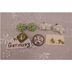 W.Germany Jewellery (Marked Earrings, Scarf Clip)