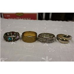4 Clamp On Bracelets (Silver&Gold Tone)(1950s&1960s)
