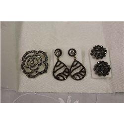 Marcasite Jewellery (Brooch&Earrings (2))