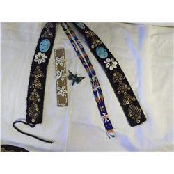 Hand Beaded Items (Belt, Bracelet, Brooch & Tie)
