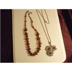Amber Crystal Bead Necklace & Crystal Pendant