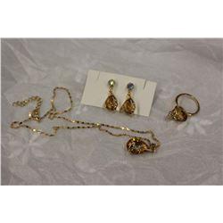 Topaz Gold Plated Set w/Ring (Nov. Birthstone)