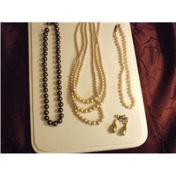 Vintage Quality Pearl Set & Pair Chocolate Pearls