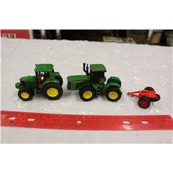 John Deere Toy Tractors (2)& A Tractor Attachment