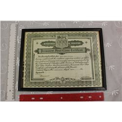 1936 Framed Saskatchewan Teaching Certificate