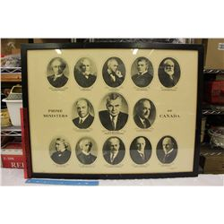 """Framed Prime Ministers of Canada Picture (29.5""""x22.5"""")"""