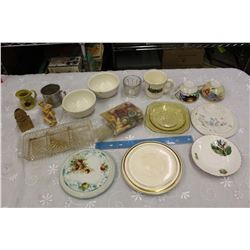 Lot of Vintage Glassware& Misc (Depression Glass, Mugs, Etc)
