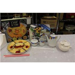 Serving Dish, Porcelain Tea Set& A Soup Bowl