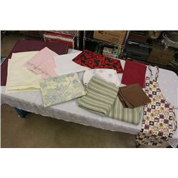 Lot of Table Cloths, Placemats& A Apron