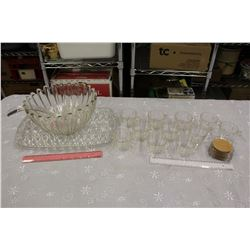 Punch Bowl w/Glasses&Tray