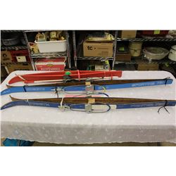 Vintage Cross Country Skis (3 Pairs)(2 Wooden Skimaster)