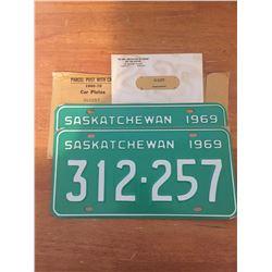 Pair Of Unused 1969 Sask License Plates, Matching Numbers
