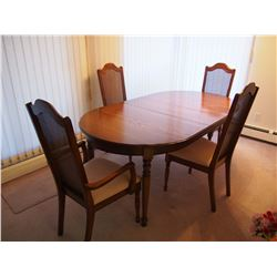 """Beautiful Oak Dinner Table W/ Wooden Chairs (4) LIKE NEW! (With Insert, 71""""x40"""")"""