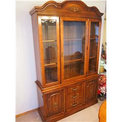 """Beautiful Oak China Cabinet With Glass Doors and Shelves (79""""x48""""x16"""")"""