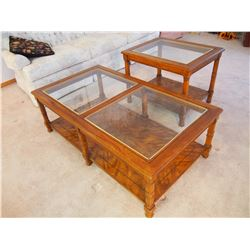 """Wood Coffee Table And End Table With Glass Tops, LIKE NEW! (48""""x27""""x16 and 27""""x21""""x22"""")"""